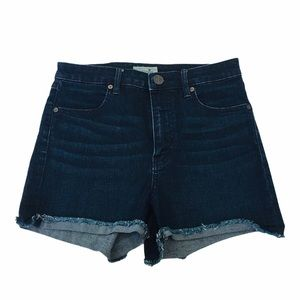 BOOTLEGGER Dark Denim High Waisted Cut Off Short